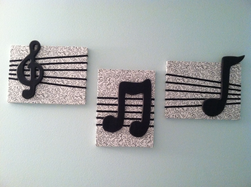 Diy Wall Decor Cover Canvas Squares With Music Note Fabric Add Pertaining To Fabric Covered Squares Wall Art (Image 5 of 15)