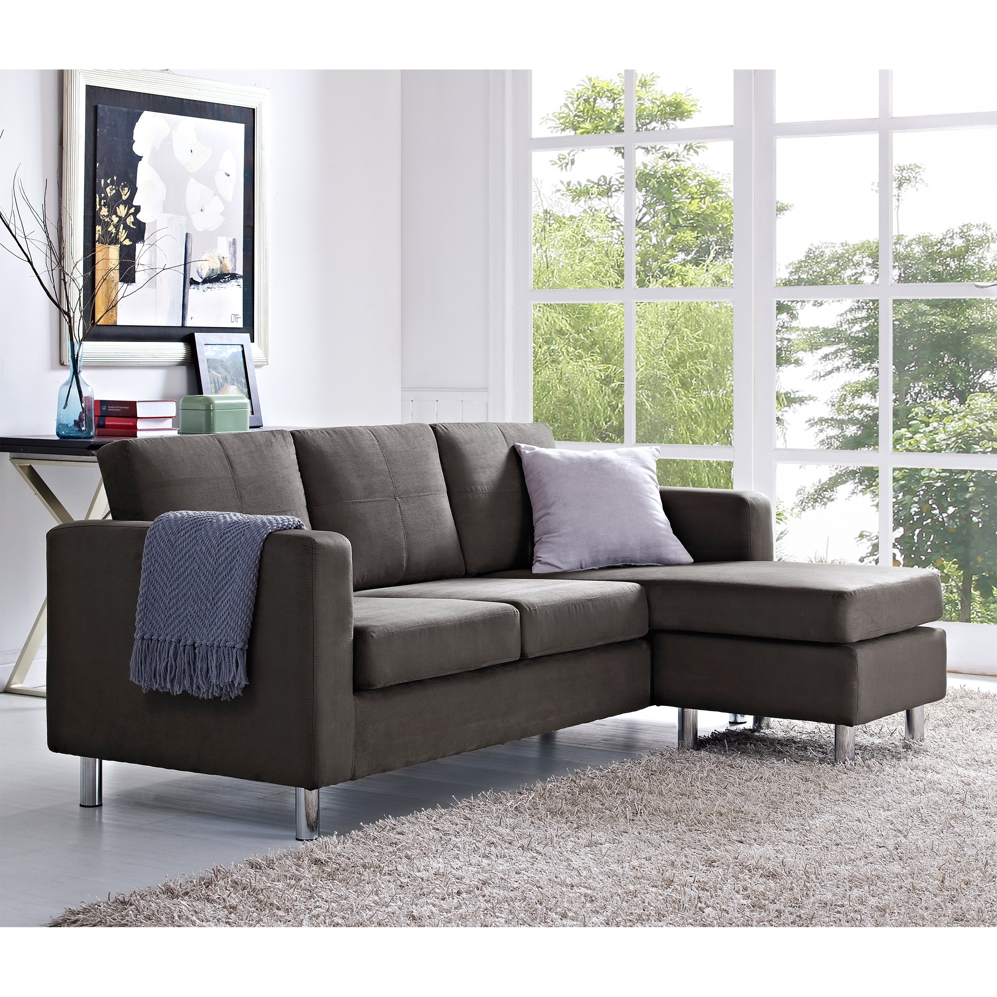 Dorel Living Small Spaces Sectional Chaise Sofa • Sectional Sofa With Small Spaces Sectional Sofas (Image 4 of 10)