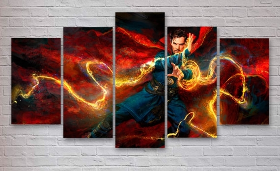 Dr Strange – Marvel Movie 5 Panel / Piece Canvas – Wall Art With Movies Canvas Wall Art (View 11 of 15)