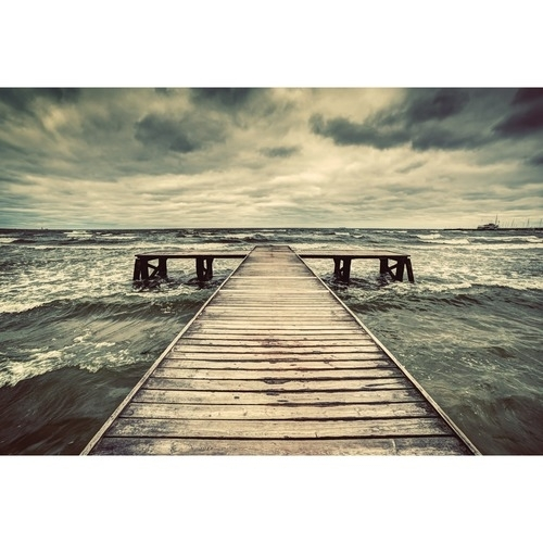 Dramatic Jetty Canvas Wall Art | Temple & Webster With Regard To Jetty Canvas Wall Art (Image 5 of 15)