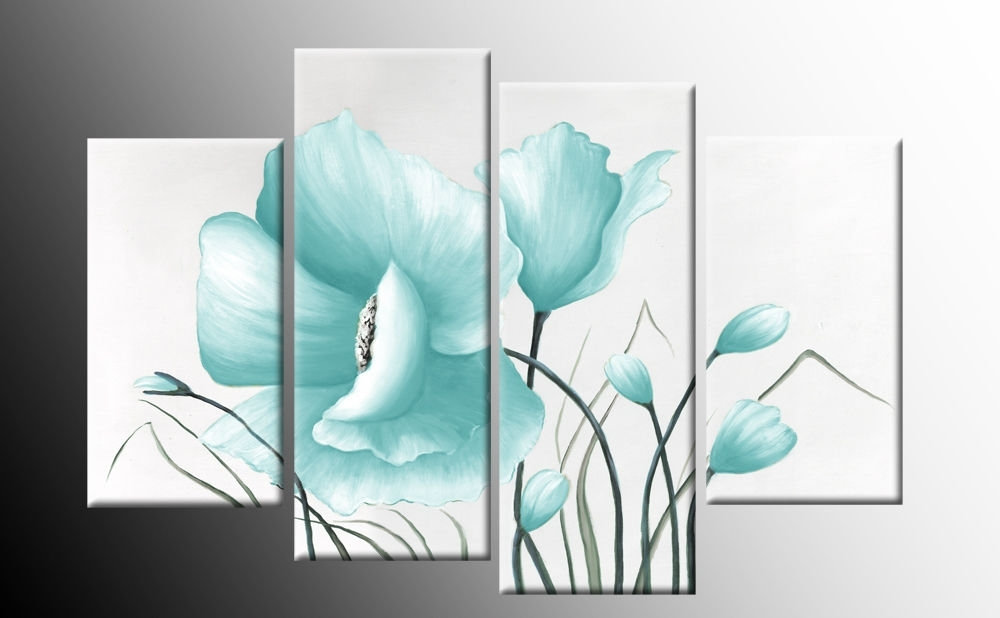 Duck Egg Blue Floral Flower Canvas Picture Wall Art Split Multi Pertaining To Duck Egg Blue Canvas Wall Art (Image 4 of 15)