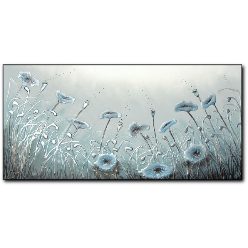 Duck Egg Blue Poppies Inside Duck Egg Canvas Wall Art (Image 4 of 15)