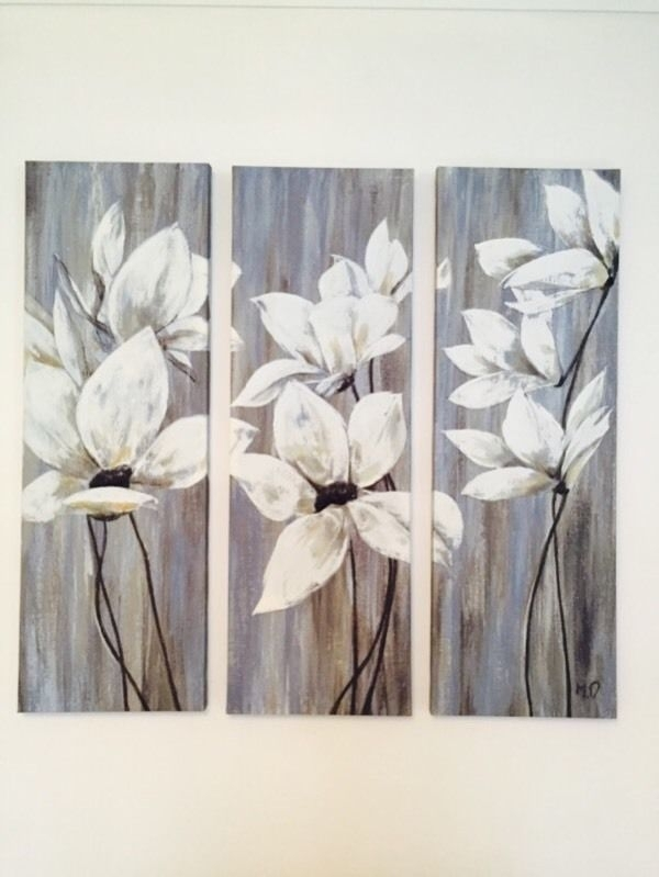 Dunelm 3 Piece Floral Wall Art Canvas Triptych | In Dodworth Intended For Gumtree Canvas Wall Art (View 5 of 15)