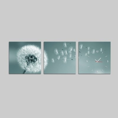 E – Home Pretty Dandelion Canvas Mural Wall Clock 3Pcs $ (View 12 of 15)