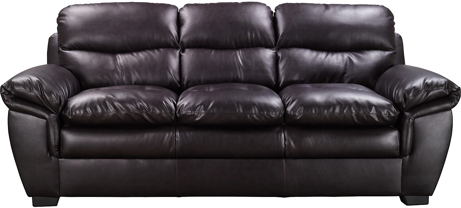 E6 Brown Bonded Leather Sofa | The Brick | Around The House Inside The Brick Leather Sofas (View 2 of 10)