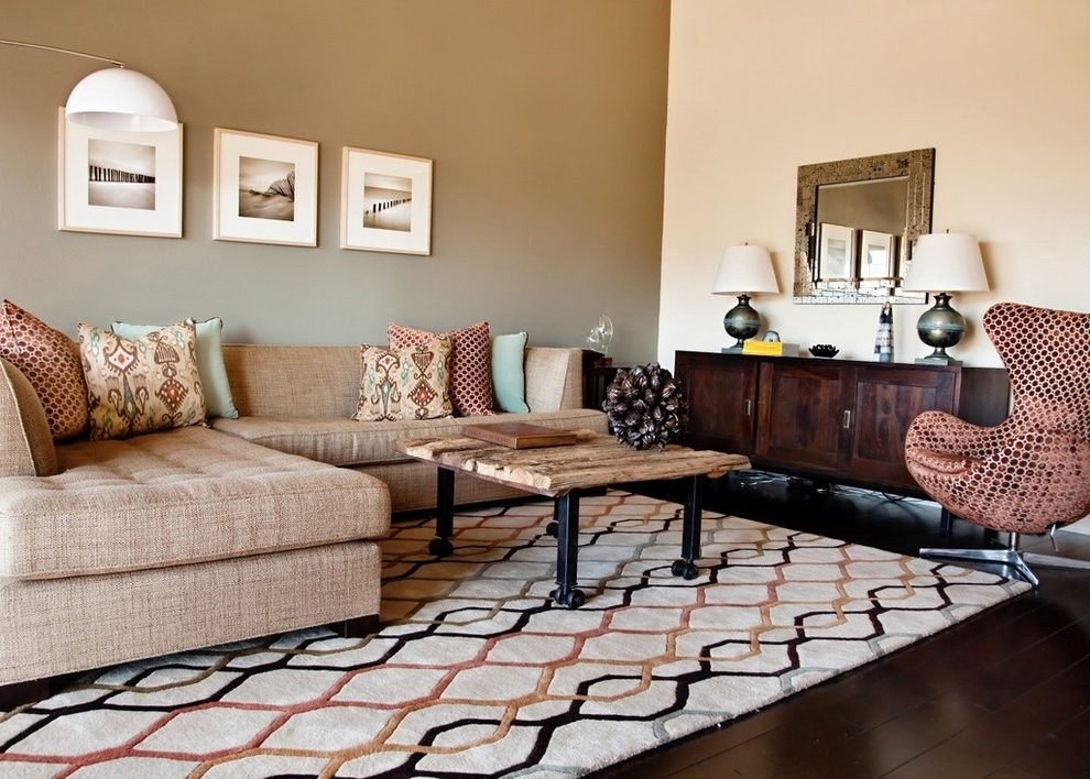 Earth Tone Accent Walls Living Room Contemporary With Sectional Throughout Earth Tones Wall Accents (Image 9 of 15)