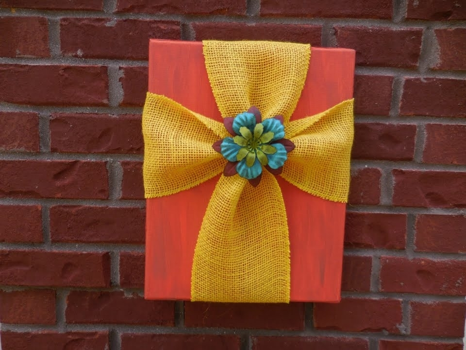 Easy Diy Burlap And Canvas Cross – Youtube Pertaining To Fabric Cross Wall Art (View 7 of 15)
