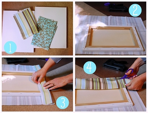 Easy Fabric Covered Canvas Wall Art Intended For Diy Fabric Canvas Wall Art (Image 7 of 15)