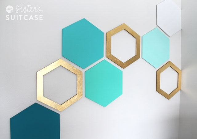 Easy Hexagon Wall Treatment – My Sister's Suitcase – Packed With Within Geometric Shapes Wall Accents (View 5 of 15)