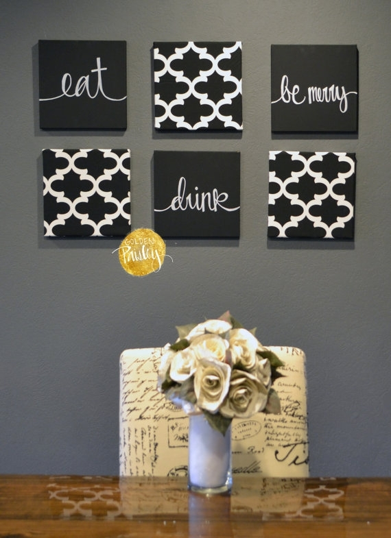 Eat Drink & Be Merry Black White Wall Art 6 Pack Canvas Wall With White Fabric Wall Art (Image 6 of 15)
