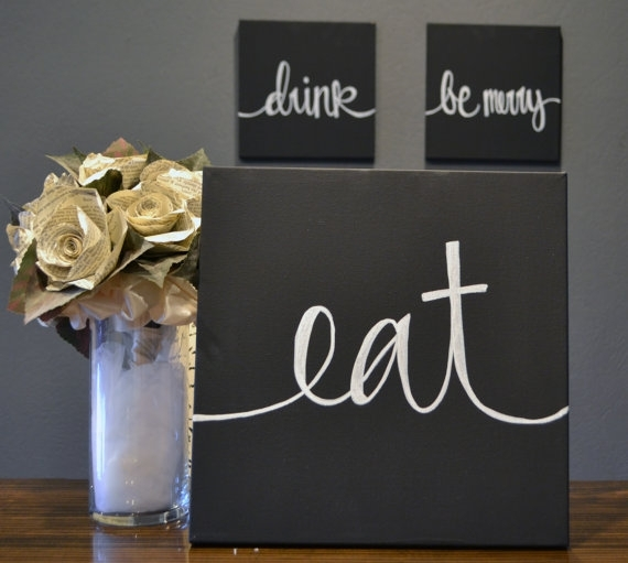 Eat Drink & Be Merry Canvas Wall Art Paintings Black And White For Eat Canvas Wall Art (Image 5 of 15)