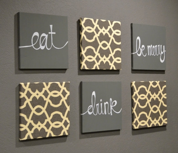Eat Drink & Be Merry Wall Art Pack Of 6 Canvas Wall Hangings Hand Intended For Damask Fabric Wall Art (View 14 of 15)