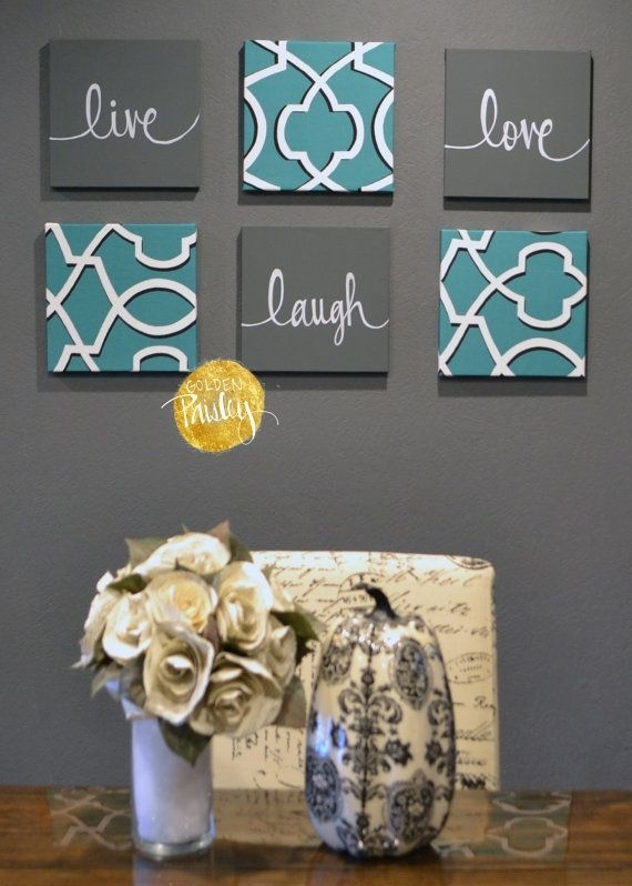 Eat Drink & Be Merry Wall Art Pack Of 6 Canvasgoldenpaisley With Eat Canvas Wall Art (Image 7 of 15)
