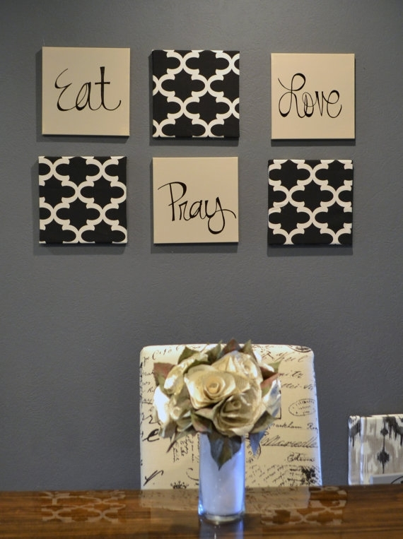 Eat Pray Love Wall Art Pack Of 6 Canvas Wall Hangings Hand Within Eat Canvas Wall Art (Image 11 of 15)