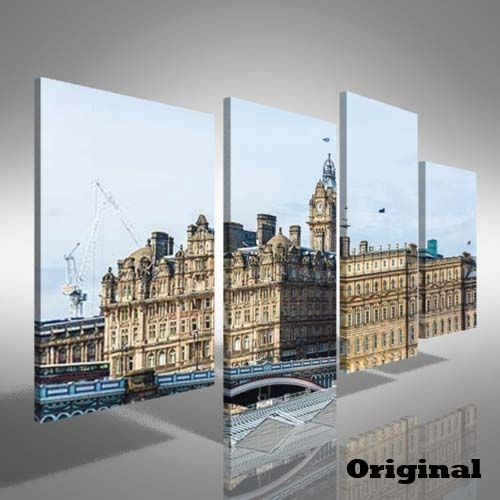 Edinburgh City Centre Offset Canvas Print Large Picture Wall Art With Edinburgh Canvas Prints Wall Art (View 6 of 15)