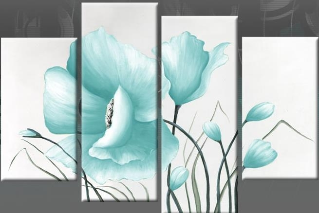 Egg Blue Large Poppy With Buds In 4 Panel Canvas Wall Art Print 40 In Duck Egg Canvas Wall Art (Image 6 of 15)