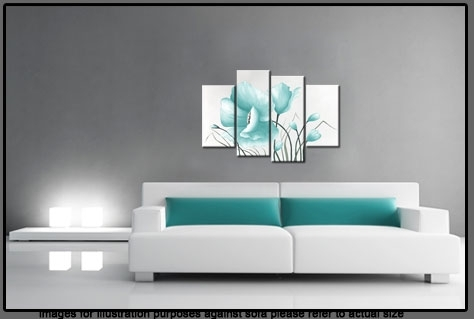 Egg Blue Large Poppy With Buds In 4 Panel Canvas Wall Art Print 40 Regarding Duck Egg Blue Canvas Wall Art (Image 6 of 15)