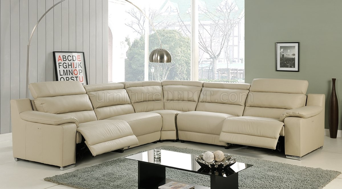 Elda Reclining Sectional Sofa In Beige Leatherat Home Usa Inside Reclining Sectional Sofas (Image 8 of 10)