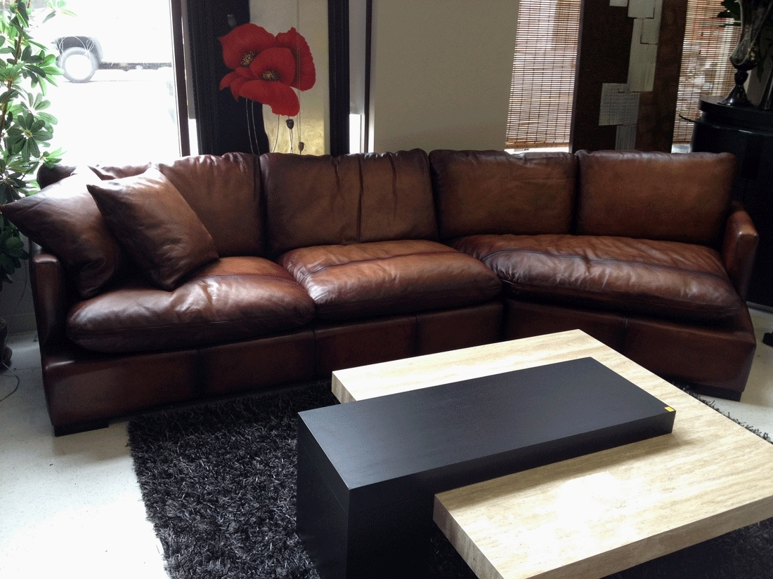 Elegant Brown Leather Sectional Sofa Clearance 64 With Additional Within Clearance Sectional Sofas (Image 5 of 10)