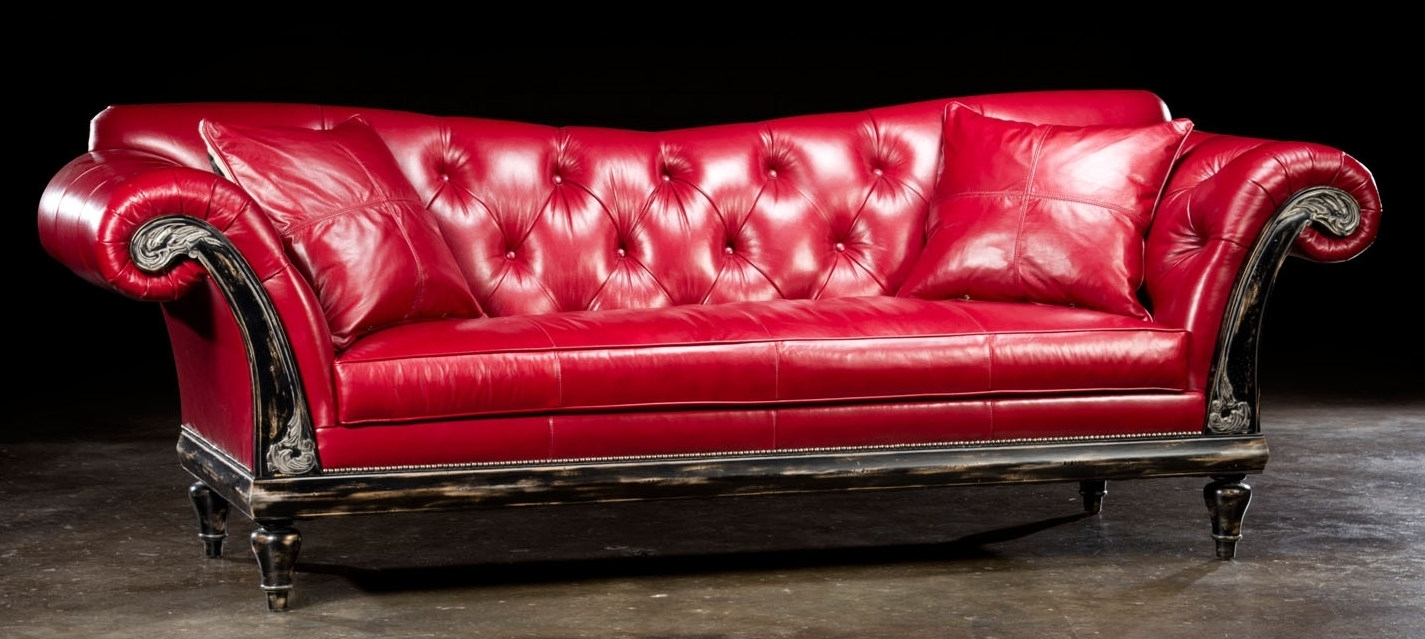 Elegant Red Leather Couch 54 In Contemporary Sofa Inspiration With Intended For Red Leather Couches (Image 3 of 10)