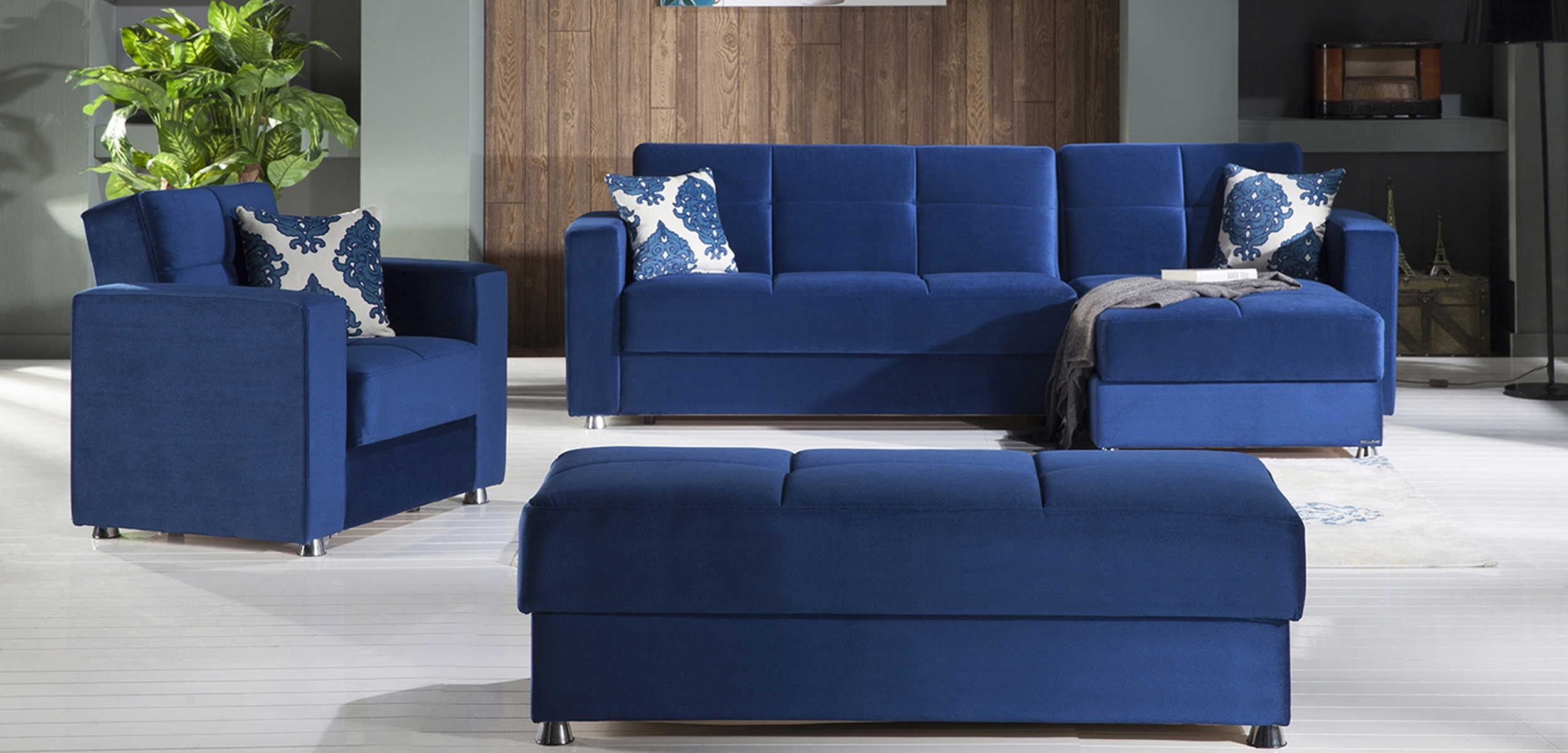 Elegant Roma Navy Sectional Sofaistikbal (Sunset) With Elegant Sectional Sofas (View 4 of 10)