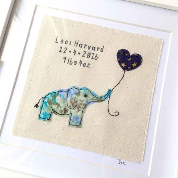 Elephant New Baby Gift, Framed Wall Art (View 13 of 15)