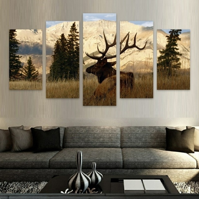 Elk/nature Hd Canvas Wall Art Free Shipping In Painting In Deer Canvas Wall Art (View 14 of 15)