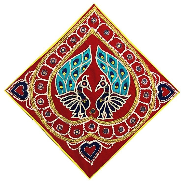 Embroidered Peacock On Red Velvet Cloth – (Wall Hanging For Elephant Fabric Wall Art (Image 5 of 15)