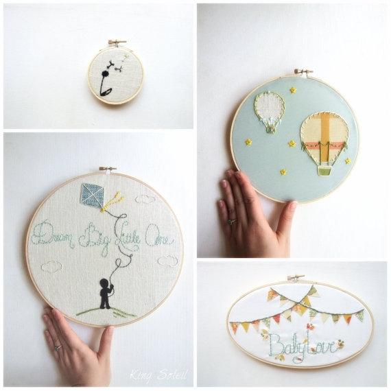 Embroidery Hoop Art Set Modern Nursery Set Of Four As Featured Inside Fabric Hoop Wall Art (View 6 of 15)