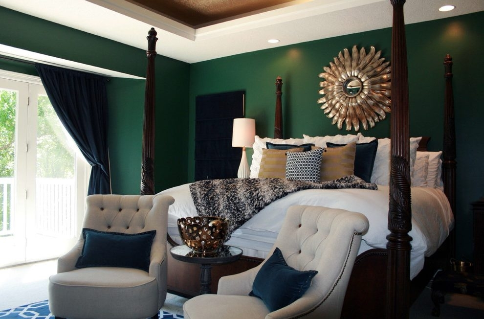 Emerald Green Bedroom Bedroom Transitional With White Bedding With Intended For Green Room Wall Accents (Image 7 of 15)