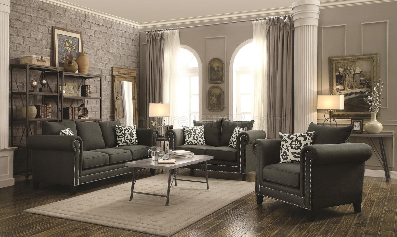 Emerson Sofa 504911 In Charcoal Fabriccoaster W/options Regarding Everett Wa Sectional Sofas (View 10 of 10)