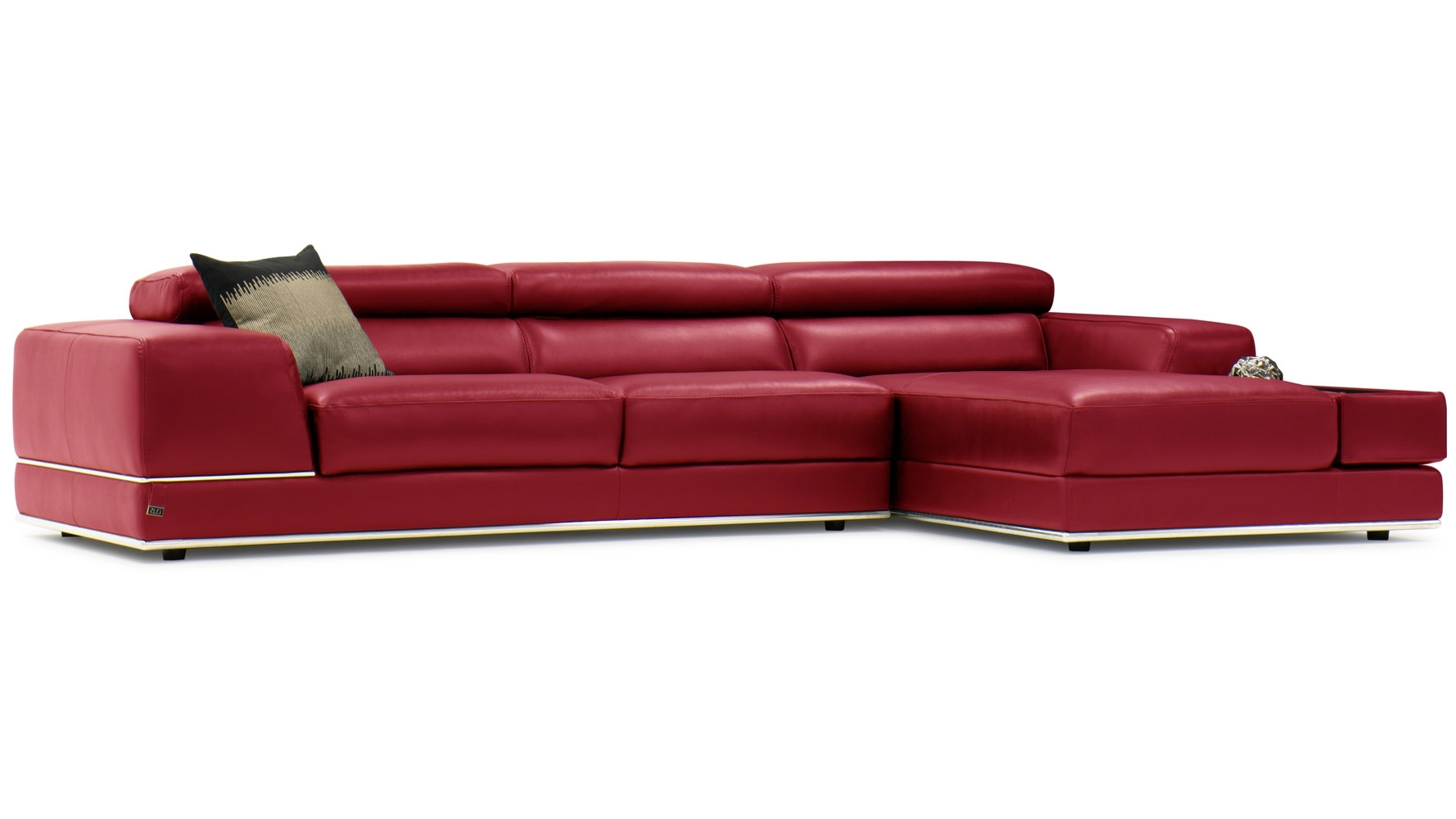 Encore Red Leather Sofa | Zuri Furniture Throughout Red Leather Sofas (Image 4 of 10)