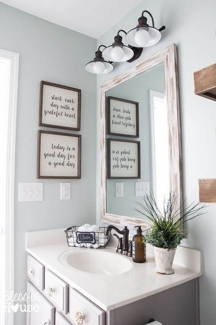 Endearing Best 25 Bathroom Wall Decor Ideas On Pinterest Half At Within Wall Accents For Bathroom (View 7 of 15)