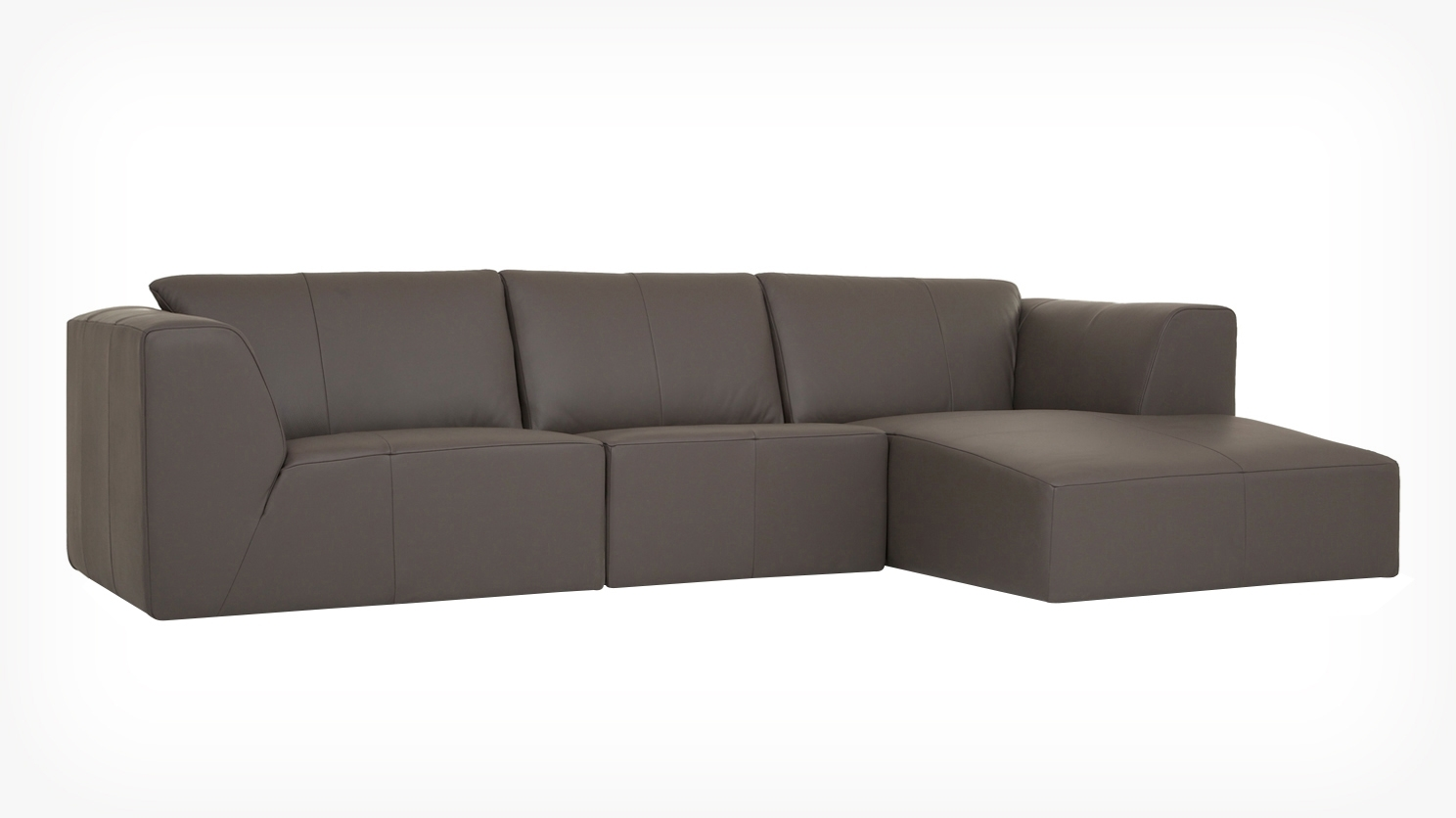 Eq3 | Morten 3 Piece Sectional Sofa With Chaise – Leather Inside Eq3 Sectional Sofas (View 5 of 10)