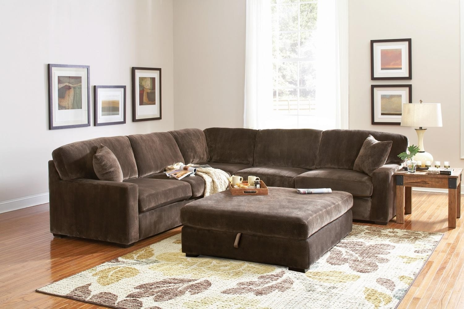 Erickon Coffee Bean Velvet Sectional Sofa – Living Room Regarding Velvet Sectional Sofas (View 6 of 10)