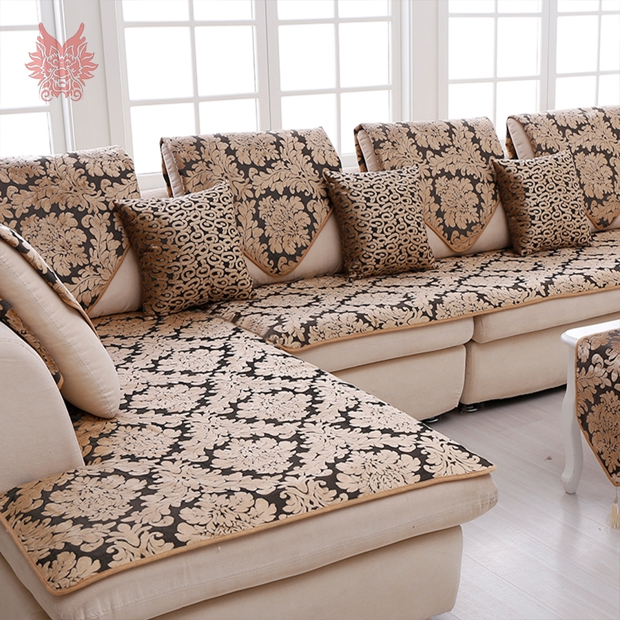 Europe Black Gold Floral Jacquard Terry Cloth Sofa Cover Plush With Sectional Sofas From Europe (Image 4 of 10)
