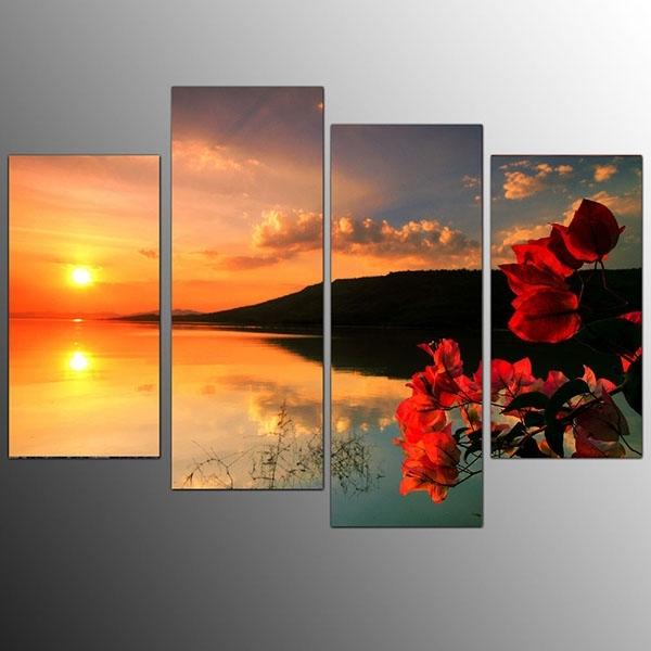 Europe Style For Framed Living Room Canvas Art Prints Sunset Intended For European Framed Art Prints (View 11 of 15)