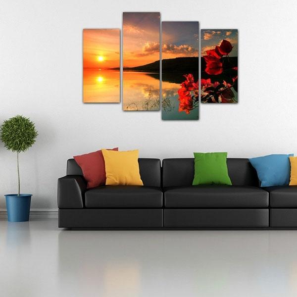 Europe Style For Framed Living Room Canvas Art Prints Sunset Intended For European Framed Art Prints (View 8 of 15)