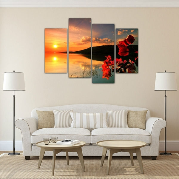 Europe Style For Framed Living Room Canvas Art Prints Sunset Regarding European Framed Art Prints (View 9 of 15)