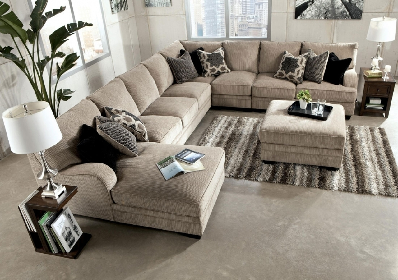 Excellent Large Sectional Sofa With Ottoman 82 On Leather Sectional With Regard To Sectional Sofas With Chaise Lounge And Ottoman (Image 6 of 10)