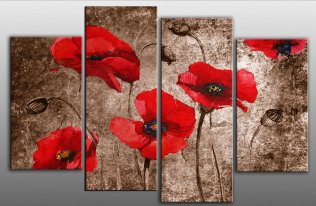 Extra Large 60 Poppies Grunge Abstract Red On Brown 4 Panel Wall Art Regarding Red Canvas Wall Art (View 12 of 15)