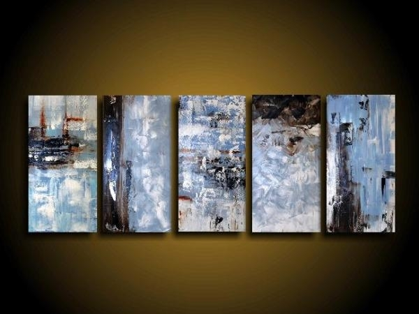 Extra Large Abstract Art Modern Painting Wall Art Blue Painting Within Blue And Brown Canvas Wall Art (Image 7 of 15)