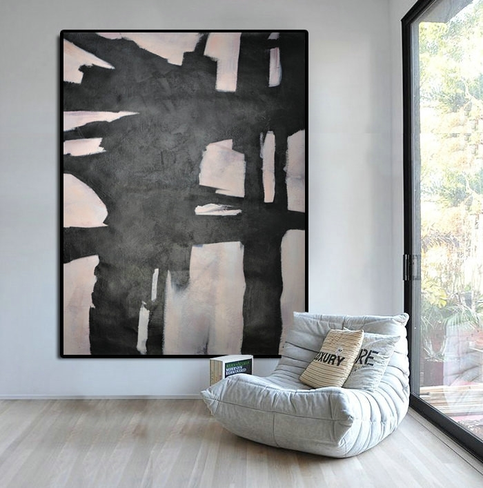 Extra Large Abstract Painting, Horizontal Acrylic Painting Large For Horizontal Abstract Wall Art (View 5 of 15)