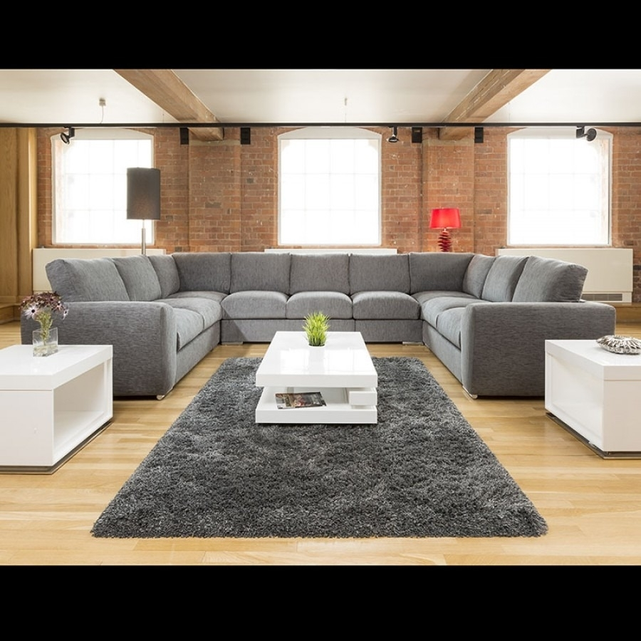 Extra Large Cinema Sofa Set Settee Corner Group U Shape Grey  (Image 3 of 10)