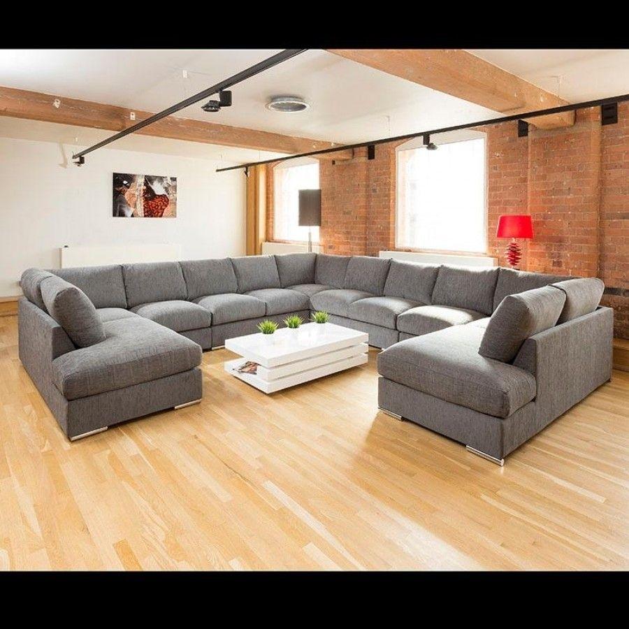Extra Large Unique Sofa Set Settee Corner Group C Shape Grey (View 3 of 10)