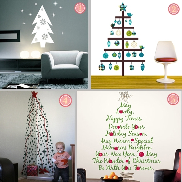 Fabric Christmas Tree Wall Stickers Within Fabric Tree Wall Art (Image 7 of 15)