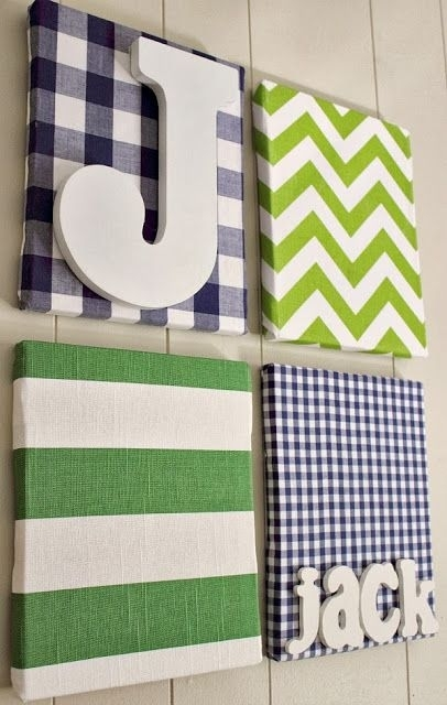Fabric Covered Canvas Nursery Art And Hanging Diaper Organizers Pertaining To Childrens Fabric Wall Art (View 14 of 15)