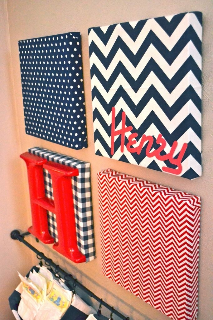 Fabric Covered Canvas Nursery Art And Hanging Diaper Organizers Pertaining To Diy Fabric Covered Wall Art (Image 9 of 15)