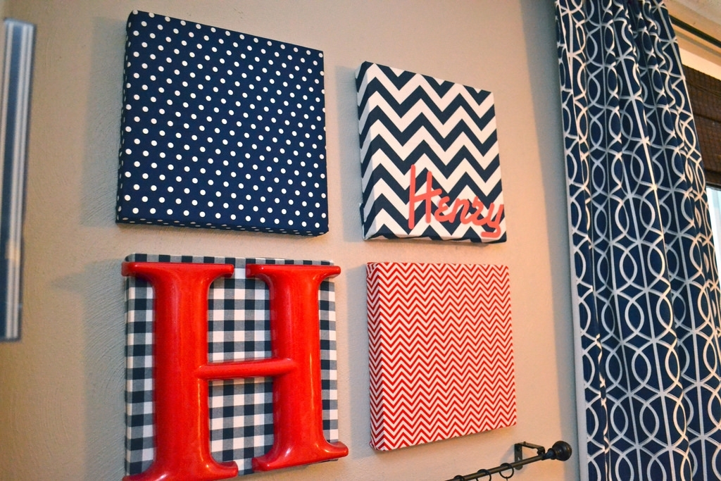 Fabric Covered Canvas Nursery Art Hanging Diaper Organizers – Dma With Regard To Red Fabric Wall Art (Image 6 of 15)