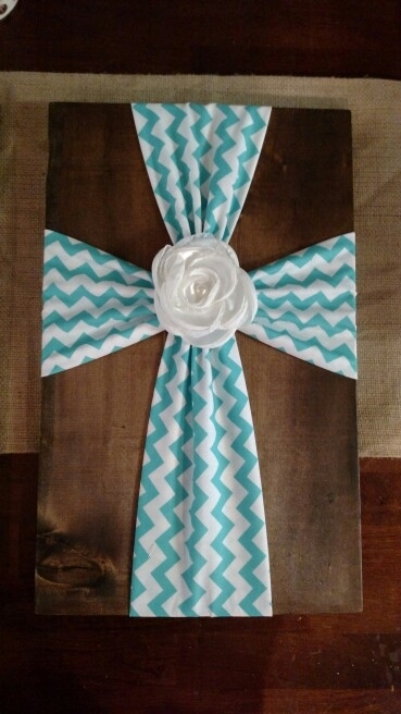 Fabric Cross On Wood 2 | Things I've Made | Pinterest | Woods For Fabric Cross Wall Art (View 2 of 15)